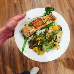 orange and baked fennel salmon
